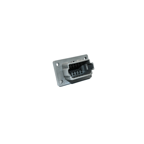 Deutsch DT receptacle 12-way, A-key, flange mount, grey
